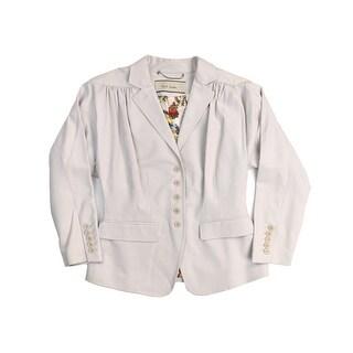 Paul Smith Women's Light Grey Cotton Blend Long Sleeve Blazer