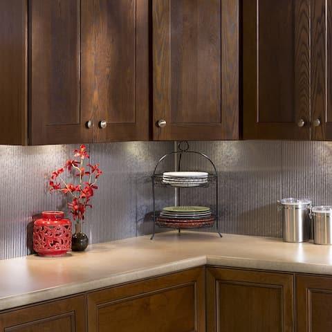 Fasade Rib Backsplash in Galvanized Steel 15-square-foot Kit