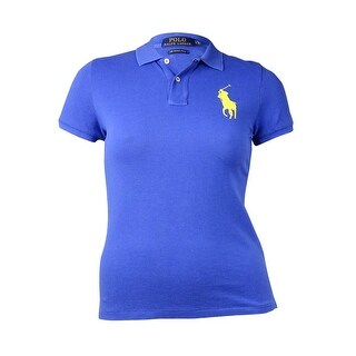 Polo Ralph Lauren Women's Stitched Logo Polo Shirt (L, Lauren Blue) - l