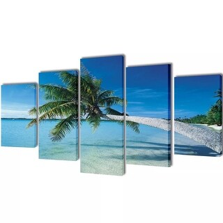 "vidaXL Canvas Wall Print Set Sand Beach with Palm Tree 39"" x 20"""