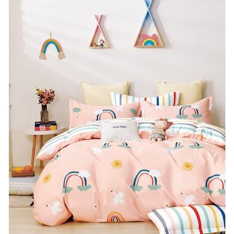 Aurora Rainbow 100% Cotton Reversible Duvet Cover Set
