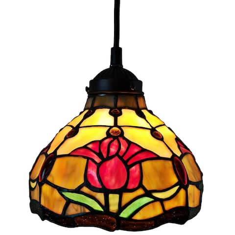 """Tiffany Style Hanging Pendant Lamp 8"""" Wide Stained Glass Shade Fixture Floral Tulips Restaurant Gift AM001HL08B Amora Lighting"""