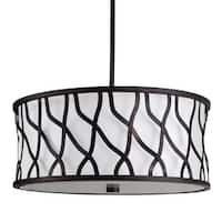 """Park Harbor PHPL5693 19"""" Wide 3 Light Foyer Pendant with Drum Shade and Patterned Metal"""