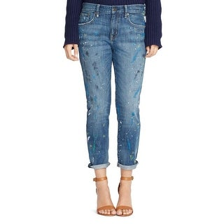 Lauren Ralph Lauren Womens Girlfriend Jeans Splatter 5-Pocket