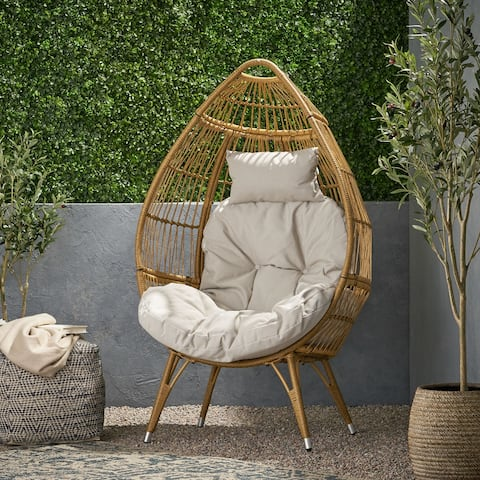 Serina Outdoor Wicker Teardrop Chair with Cushion by Christopher Knight Home
