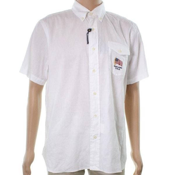 a6955de4bb Shop Ralph Lauren White Mens Size 2XL Embroidered Button Down Linen Shirt - Free  Shipping Today - Overstock - 22399570