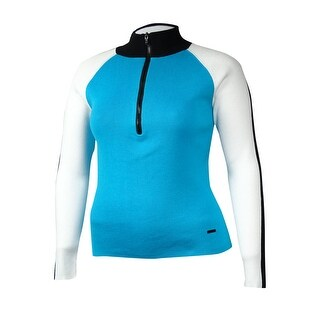 LRL Lauren Active Women's Colorblocked Quarter-Zip Sweater - Turquoise/Multi