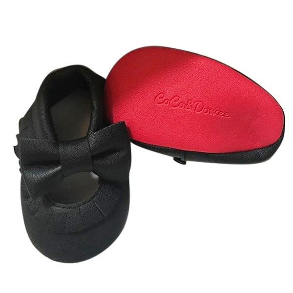 c6417315d2c Shop Baby Girls Black Red Soft Sole Mary Jane Bow Faux Leather Crib ...