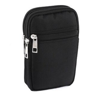 Unique Bargains Man Zippered Coin Phone Cards Holder Waist Belt Pack Bag Wallet Black