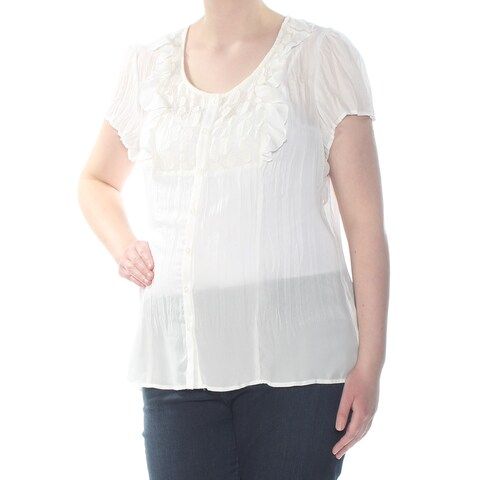 NY COLLECTION Womens Ivory Pleated Lace Button Down Short Sleeve Scoop Neck Blouse Top Size: XL