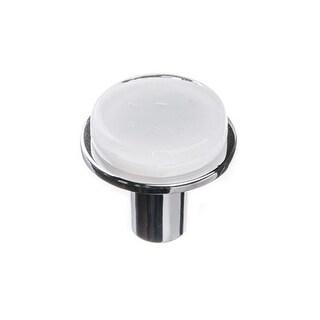 Sietto R-1300 Geometric 1-1/4 Inch Diameter Mushroom Cabinet Knob with White Glass