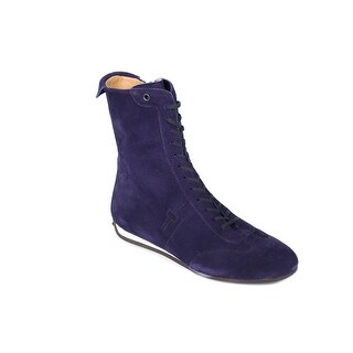 Car Shoe By Prada Purple Suede Lace Up High Top Sneakers