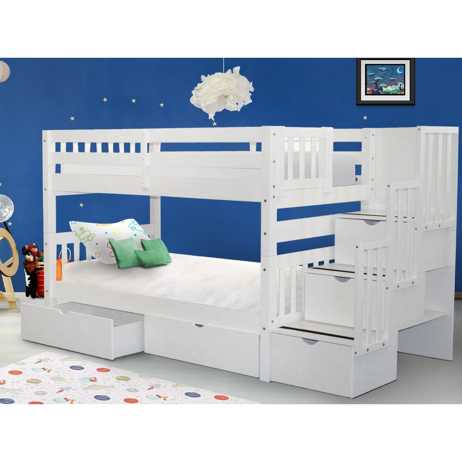 Picture of: Taylor Olive Trillium Twin Over Twin White Bunk Bed With Storage Drawers Overstock 14628142