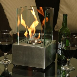 Sunnydaze Cubic Ventless Bio Ethanol Tabletop Indoor Fireplace - Stainless Steel