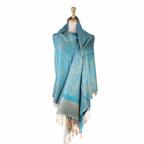 "Paisley Jacquard Pashmina Shawl Wrap Scarf Stole - 28"" width x 78"" length with Fringes. Opens flyout."
