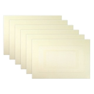 """Set of 6 Off-White Natural Double Frame Textures Place Mat 19"""" - N/A"""