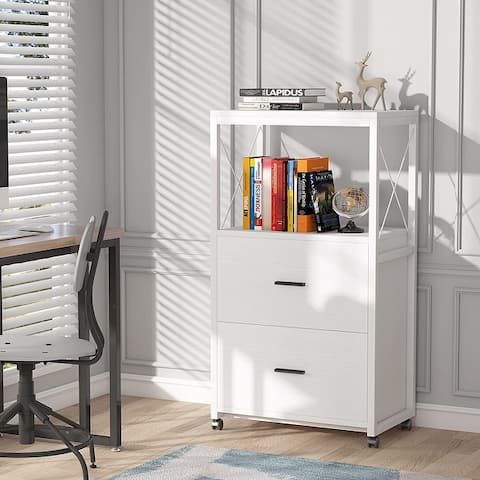2 Drawer Rolling File Cabinet with Open Storage Shelf, Vertical Filling Cabinet for Legal Size