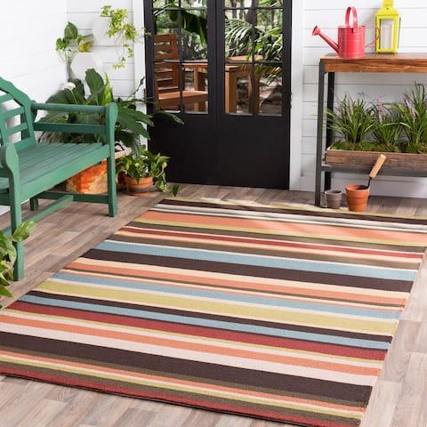 Hand-hooked Red Maren Indoor/Outdoor Stripe Area Rug - 9' x 12'