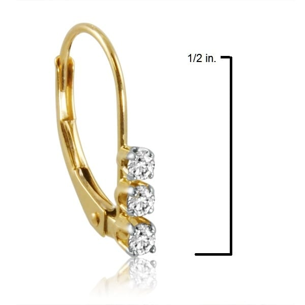 0c4b7ca48b9957 Shop Amanda Rose AGS Certified 10K Yellow Gold Three-Stone Diamond  Leverback Earrings 1/4cttw - Free Shipping Today - Overstock - 12052268