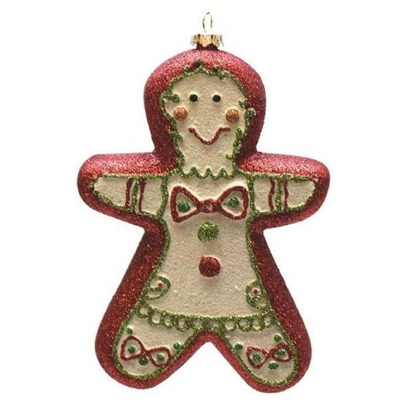 """6"""" Merry & Bright Red, White and Green Glittered Shatterproof Gingerbread Boy Christmas Ornament - RED"""