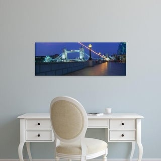 Easy Art Prints Panoramic Images's 'Bridge lit up at night, Tower Bridge, River Thames, London, England' Canvas Art