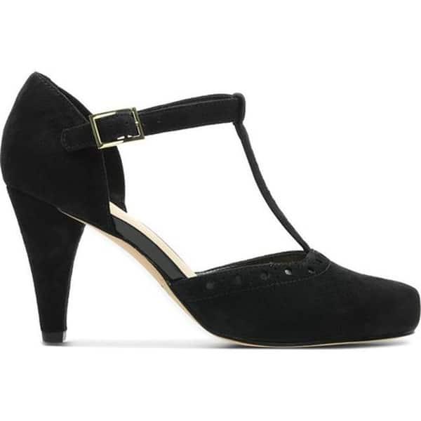 Ocupar jugo Alianza  Shop Clarks Women's Dalia Leah Heeled T Strap Black Nubuck - Overstock -  28052521