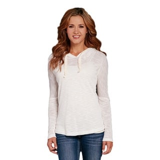 Cowgirl Up Western Shirt Womens Crochet Long Sleeve Hood White CG60205