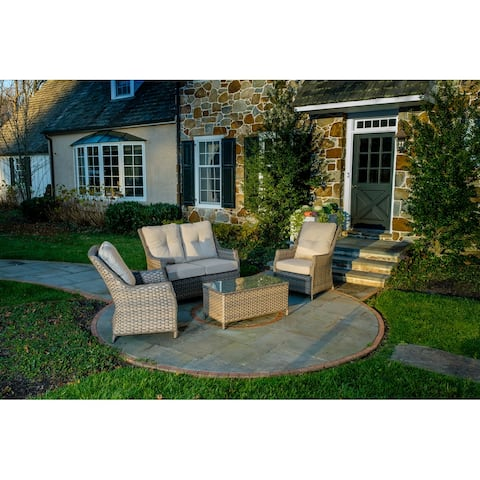Rockhill Wicker 4 Piece Seating Group with Sunbrella Cushions