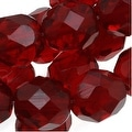Czech Fire Polished Glass Beads 8mm Round Dark Ruby Red (25) - Thumbnail 0