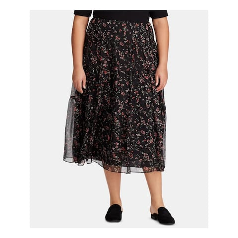 RALPH LAUREN Womens Black Floral Tea-Length Circle Skirt Size 18W