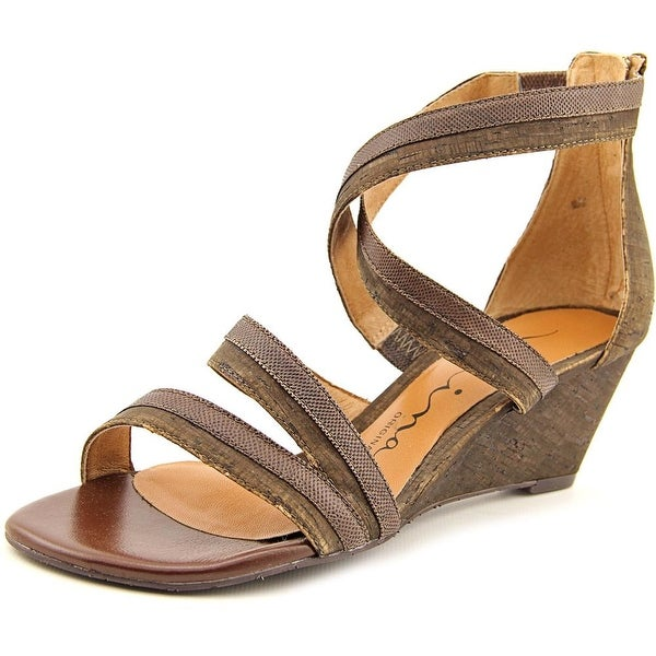 Nina Nadja Women Open Toe Canvas Brown Wedge Sandal