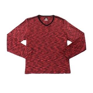 Alfani NEW Red Men's Black Size Large L V-Neck Space Dye T-Shirt