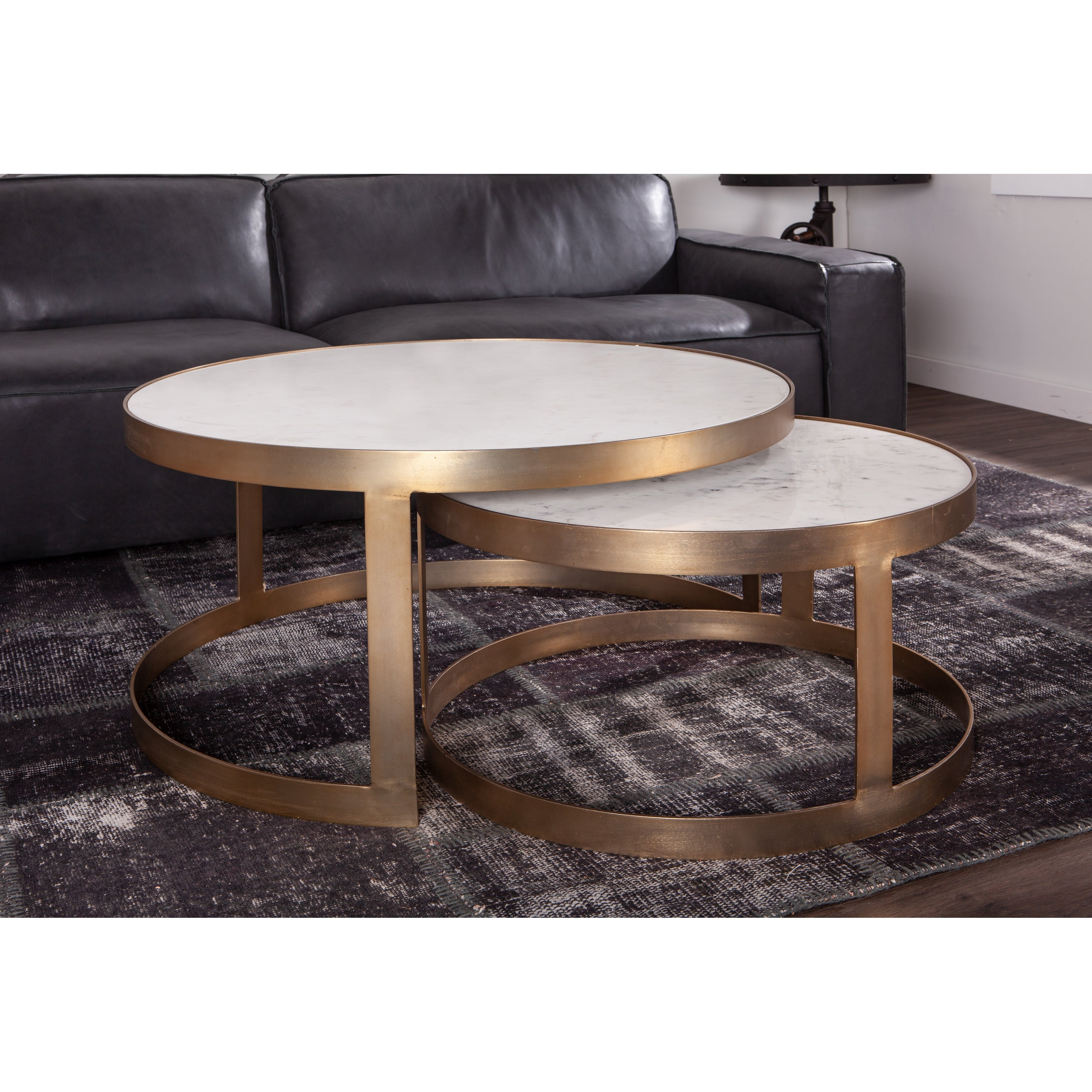 Leonardo Set Of Two White Marble And Gold Nesting Coffee Tables Overstock 22086313