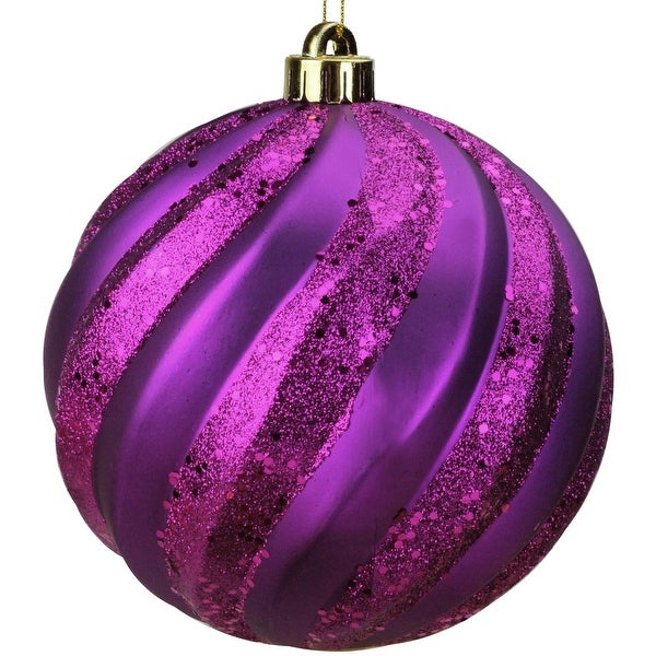 "Plum Purple Glitter Swirl Shatterproof Christmas Ball Ornament 6"" (150mm)"