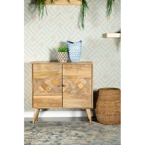 Natural Checkered Pattern 2-door Accent Cabinet