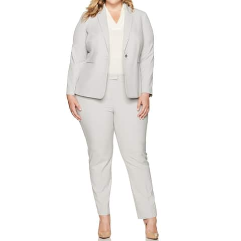 Tahari By ASL Womens Pants Suit Gray Size 18W Plus One Button Stretch