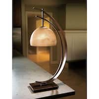 Half Moon Desk Table Lamp - Accent Light Rubbed Bronze Frosted Glass - 14 in. x 14 in. x 28 in.