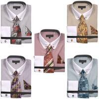 Men's Micro Diamond Print Shirt with Tie Handkerchief Cufflinks and Collar Chain