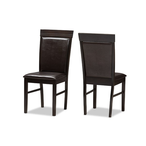 Thea Dark Brown Faux Leather Upholstered Dining Chair 2pcs