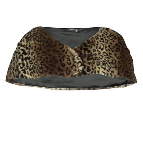 Marina Women's Faux Fur Animal Print Wrap - Brown - L