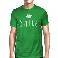 Smile Palm Tree Green Mens Summer Lightweight Cotton Tshirt For Him