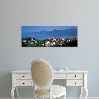 Easy Art Prints Panoramic Images's 'High angle view of a town at the coast, Piana, Corsica, France' Premium Canvas Art