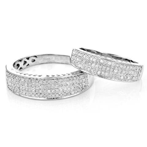 Matching Round Diamond Men's and Women's Wedding Bands Set 0.62 in Sterling Silver by Luxurman