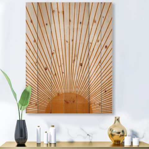 Designart 'Orange Sun Print III' Modern Print on Natural Pine Wood