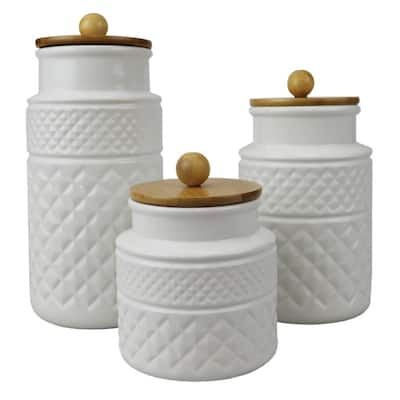 3 Piece Embossed Ceramic Canister with Bamboo Tops, White