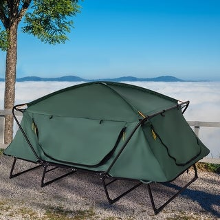 Gymax 2 Person Folding Hiking Outdoor Elevated Camping Tent Cot Waterproof w/ Carry Bag