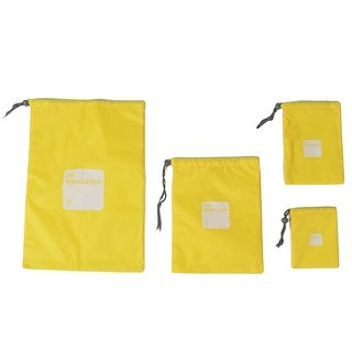 Outdoor Travel Nylon Comb Toothbrush Organizer Storage Bag Pouch Yellow 4 in 1