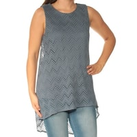 VINCE CAMUTO Womens Blue Sleeveless Jewel Neck Tunic Top  Size: S