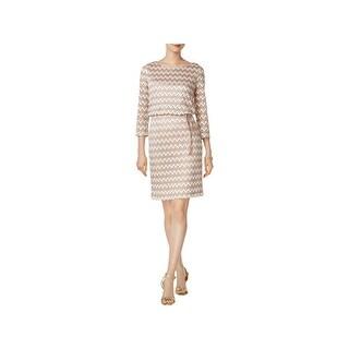 Jessica Howard Womens Petites Wear to Work Dress Metallic Chevron-Print