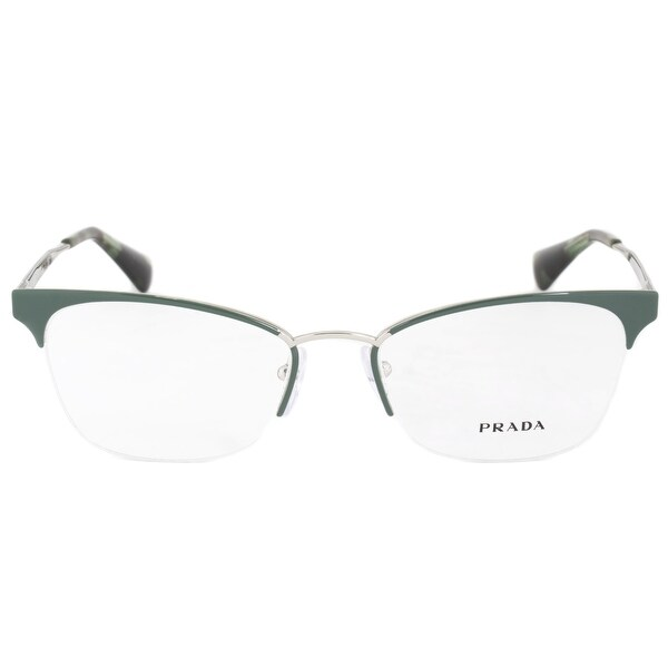 Shop Prada PR65QV UEI1O1 Cat Eye | Green/Silver| Eyeglass Frames ...